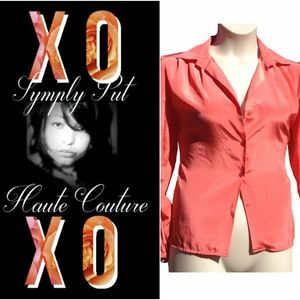 Vintage Chic Button Down Blouse w/Loop for Necktie